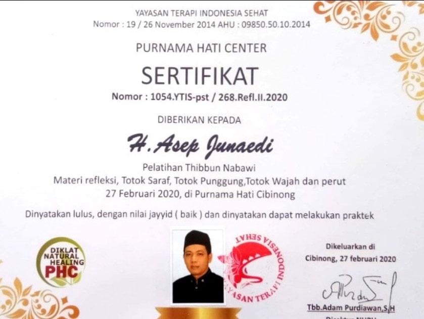Sertifikat pengobatan tradisional alat vital Bandung